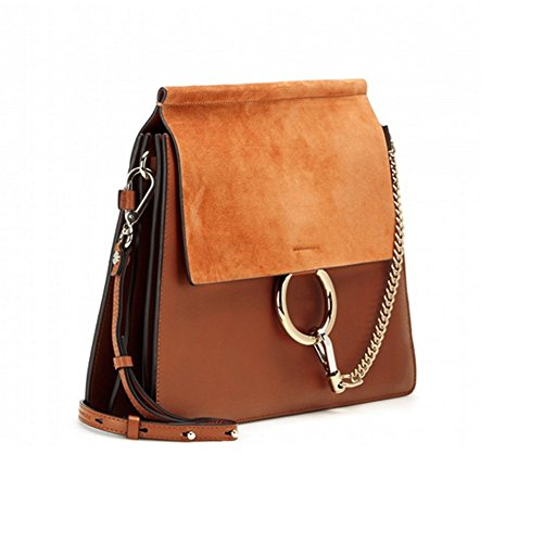 Actlure Genuine Leather Crossbody Shoulder Purse Chain Link Faye Bag (Caramel-M) from ACTLURE