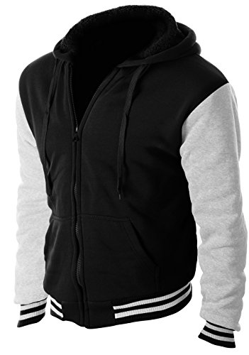 Enimay Full Zipper Hooded Sweater Pull-Over with Sherpa-Lined Fleece Letterman Black & Light Grey Large ()