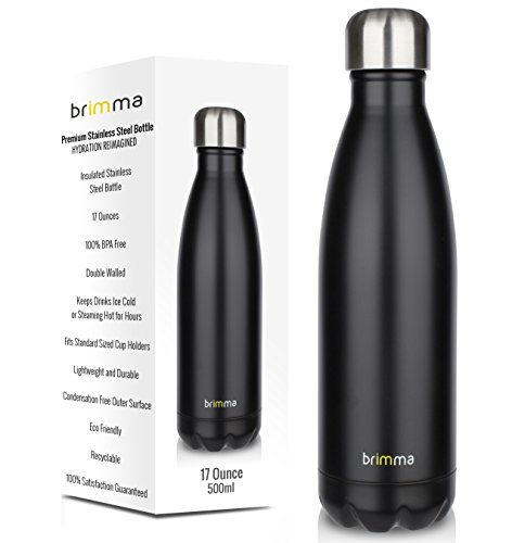 Stainless Steel Drink Containers (Brimma Vacuum Insulated Water Bottle - Double Wall Stainless Steel Travel Bottle For Hot & Cold Drinks - No Sweat, Leak Proof, BPA Free Thermos Flask - 17 Oz (500 ml))