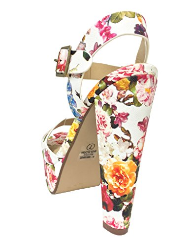 Bosco! Deliziose Scarpe Aperte Da Donna Con Plateau E Cinturino Con Cinturino Alla Caviglia