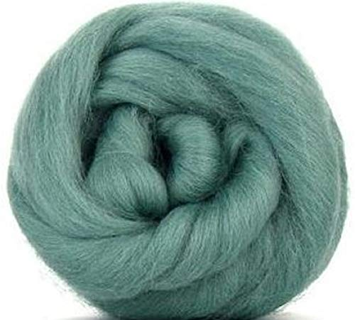 4 oz Paradise Fibers Teal (Green) Corriedale Top Spinning Fiber Luxuriously Soft Wool Top Roving for Spinning with Spindle or Wheel, Felting, Blending and Weaving