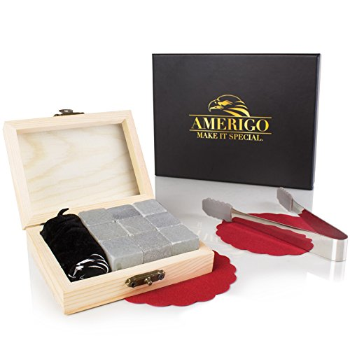 Luxury-Whiskey-Stones-Gift-Set-by-Amerigo-Set-of-9-Whiskey-Rocks-Reusable-Drinking-Ice-Stones-Chilling-Stones-Gift-Set-with-Hand-Crafted-Wooden-Box-Stainless-Steel-Tongs-and-Classy-Coaster