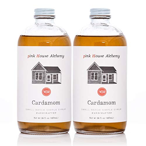 Pink House Alchemy Cardamom Syrup - 2 / 16 oz Simple Syrup Cocktail Drink Mix - Use to Flavor Coffee - Hawaiian Shaved Ice - Dessert Topping - Using Only Fresh Seeds - Free Book See Package (C 2P)