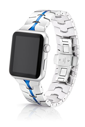 42mm JUUK Sapphire Vitero Premium Apple Watch band, made with Swiss quality using aircraft grade hard anodized 6000 series aluminum with a solid stainless steel deployant buckle (Silver Blue) by JUUK