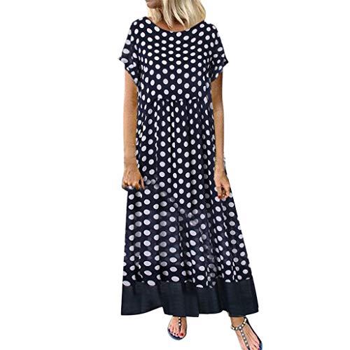 Sunhusing Ladies Casual Round Neck Wavy Polka Dot Printed Short Sleeve Summer Loose Ankle-Length Long Dress Black