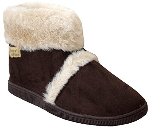 New Ladies Womens Coolers Brand Hard Sole Warm Winter Fur Ankle Slipper Boots Shoes UK 3-8 Brown