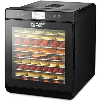 magic mill MFD-1011 Food Dehydrator Machine, 10 Trays Stainless Steel, Black