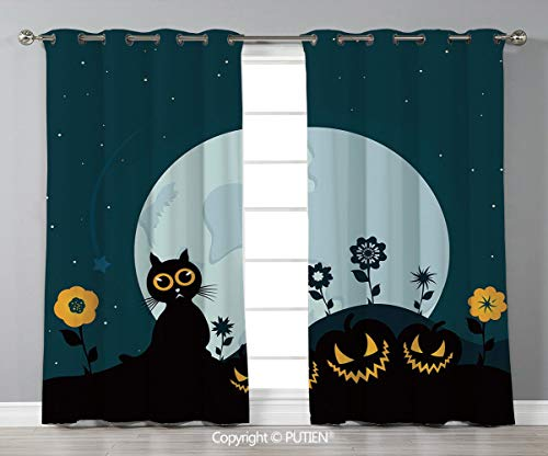 Grommet Blackout Window Curtains Drapes [ Halloween Decorations,Cute Cat Moon on Floral Field with Starry Night Sky Star Cartoon Art,Blue Black ] for Living Room Bedroom Dorm Room Classroom Kitchen Ca -