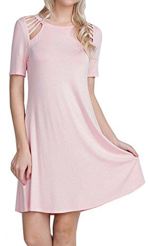 Cambridge Select Juniors Cutout Shoulder Detail Short Sleeved Swing Dress (Small, Blush)