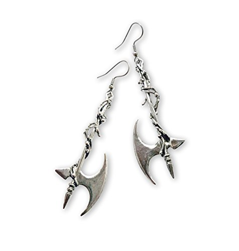 Gothic Vine Wrapped Executioner's Axe Medieval Renaissance Dangle (Pewter Fish Earrings)