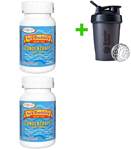 Enzymatic Therapy, Sea Buddies, Concentrate!, Focus Formula, Sugar Free, 60 Capsules(2 Packs)+ Assorted Sundesa, BlenderBottle, Classic with Loop, 20 oz