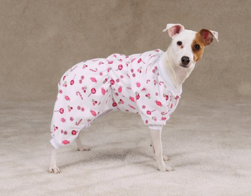 Zack & Zoey Sweet Dreams Pjs Xsm White/Candy (Sweet Pjs Dreams Dog)