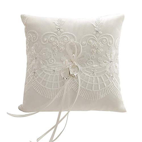 Dzty Lace Pearl Wedding Ring Pillow Ivory Cushion Bearer forWedding Ceremony, 7.5 inch