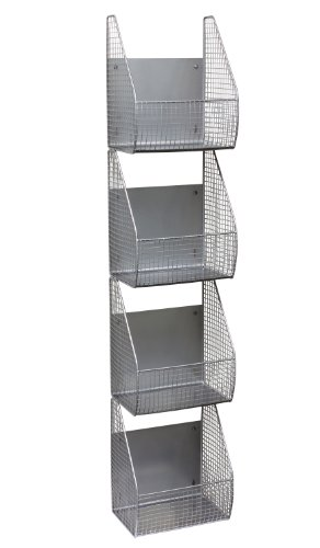 Spectrum Diversified Vertical 4-Tier Storage Basket, Wall Mount, Pewter