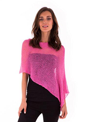 Hot Pink Fabric - SHU-SHI Womens Sheer Poncho Shrug Lightweight