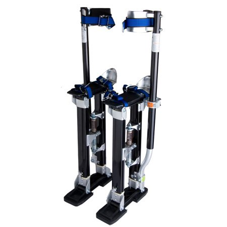 Heavy Duty Black Professional Adjustable 24 In. to 40 Inches Aluminum Painting Drywall Stilts for Taping Cleaning Ceiling Use Home Office DIY Rental Equipment