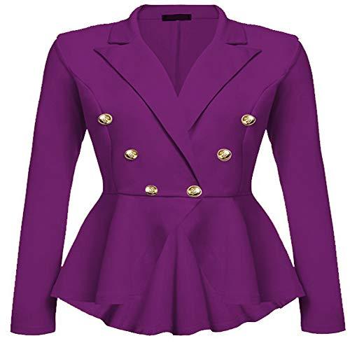 Womens Slim Fit Office Elegant Female Solid Button Plus Size Jackets Blazer ()