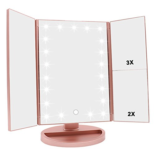 WEILY Lighted Makeup Mirror, Tri-fold Vanity Mirror with 1X/2X/3X Magnification Mirrors, 21 Natural LED Nights and Touch Screen, Chargeable Travel Cosmetic Mirror for Desktop (Rose Gold