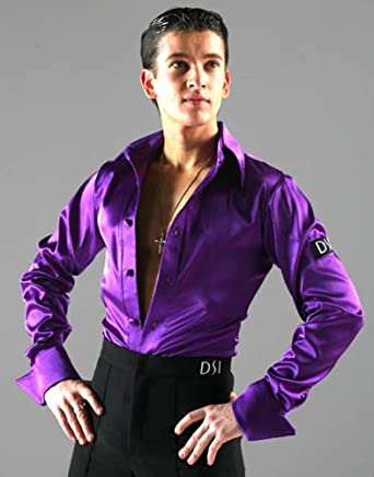 Amazon.com: Large Satin Latin Shirt in Purple: Clothing