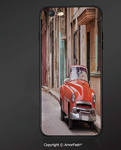 Customized iPhone 6 Case | iPhone 6S Case | Shockproof,Lightweight,Scratch Resistant,Cars,Classical American Car in a Street with Ancient Houses Caribbeans Havana Cuba,Orange Sand Brown