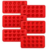 Kootek 6 Pieces Silicone Chocolate Molds, Reusable 90 Cavity Candy Mold - BPA Free Baking Supplies Tools for Making Chocolates Hard Candies Gummy Gumdrop Jelly Desserts Ice Cube Candles Soap Pudding