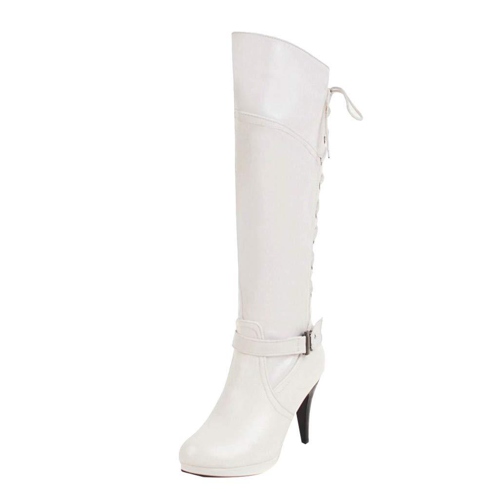 Femme Haute Bottes,Overmal 2018 Hiver Mode Retro Talon Haut Solide Cuir Longue Tube Boots Chaud Chaussures Sauvage Party Bottes Souples
