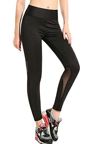 Anmengte Women Sporty Black Slim Athletic Fitness Yoga Leggings Pants (M, Black)
