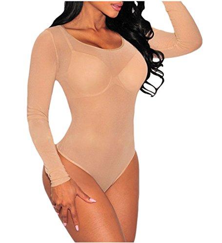 Cfanny Mujer Cuello Mock Manga Larga ver a través de Sheer malla Bodysuit O-neck Nude