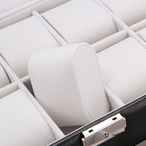 ROWLING Uhrenbox Uhrenkoffer Schaukasten Uhrenkasten Uhrenvitrine für 20 Uhren 2 Fächer Schwarz BG033BK -