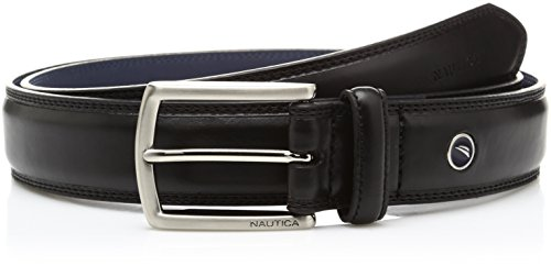 Nautica Men's Feathered Edge with Double-Stitch Casual Leather Belt,Black,38