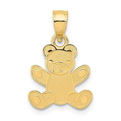 Yellow Gold Teddy Bear Charm - 14k Yellow Gold Teddy Bear Pendant Charm Necklace Baby Fine Jewelry Gifts For Women For Her