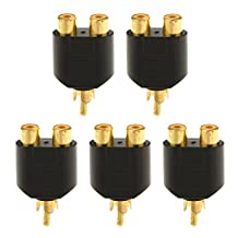 5pcs RCA 1 Male to 2 Female AV Audio Video Y Splitter Adapter Plug Converter