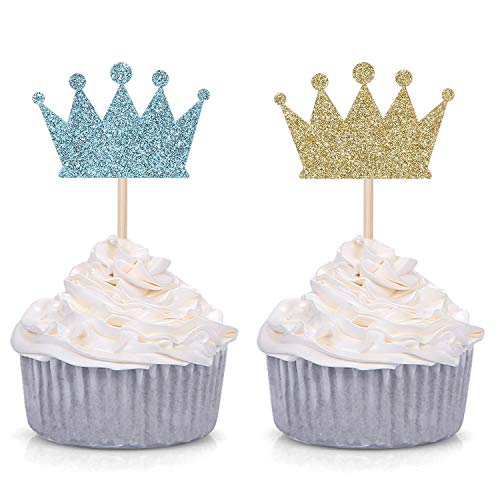 Pack of 24 Gold and Blue Prince Crown Cupcake Toppers for Baby Shower Boy's Birthday Party -