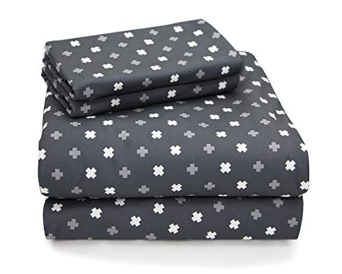 (MARQUESS Microfiber Flannel Sheet Set-Ultra Soft & Comfortable Printed 4 Pieces Sheet, Breathable & Luxury Warm Bedding Collection, Fade Resistant & Easy Care (Queen, Charcoal Gypsophila))