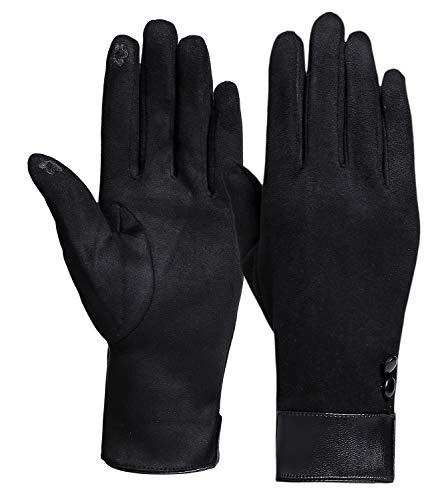 Winter Gloves for Women with Touch Screen Fingers Warm Texting Mittens (Black-Button)