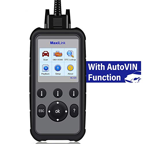 Autel ML629 OBD2 Scanner Code Reader with AutoVIN Function+ABS/SRS/Engine/Transmission Diagnostic Scan Tool, Turns Off Engine Light (MIL) and ABS/SRS Warning Lights, Upgraded Version of ML619