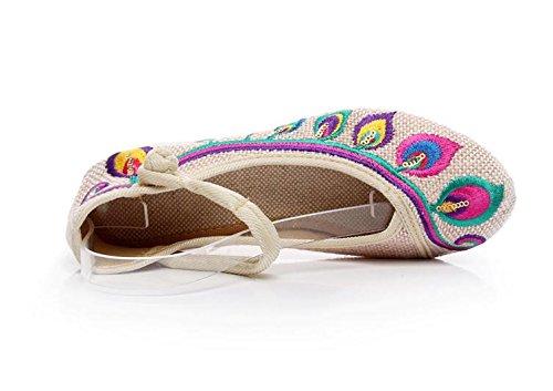xiezi-zl Zapatos Bordados, Lino, Lencer¨ªa, Estilo ¨¦tnico, Zapatos Femeninos, Moda, c¨®modo, Casual meters white