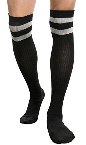 Socks Knee High Basketball Socks Men Long Soccer Hockey Baseball Athletic Hose (Black) One Size