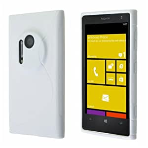 Okeler White S-line Wave Soft TPU Gel Back Skin Case Cover Shell for Nokia Lumia 1020 with Free Pen