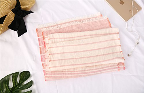 Cotton Striped Shawl Scarf Super Soft Long Lightweight Scarves For Women and Men (Small Size Orange) by Jeelow (Image #2)