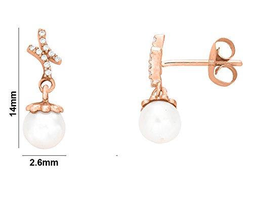 Libertini Boucle d'oreille argent 925 plaque or Rose serti de Diamant et Perle