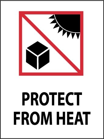 NMC IHL13AL 3'' x 4'' Pressure Sensitive Paper International Shipping Label - Protect From Heat (Graphic), 8 Rolls of 500 pcs by National Marker