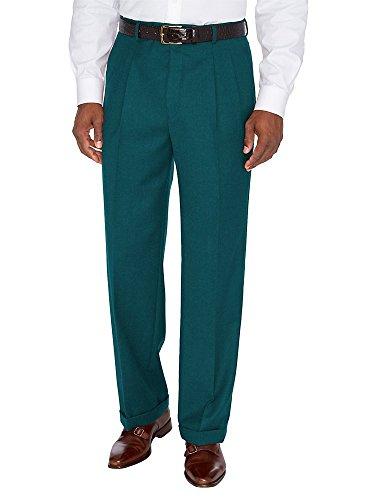 (Paul Fredrick Men's Wool \ Cashmere Pleated Pants Dark Teal 36)