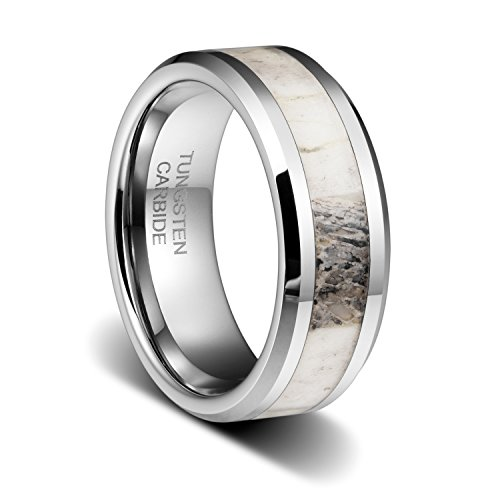 TUSEN JEWELRY 8mm Tungsten Ring Polished Finish Deer Antler Inlay Mens Wedding Band Size:12