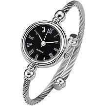 Top Plaza Womens Fashion Silver Tone Analog Quartz Bangle Cuff Bracelet Wrist Watch, Unique Elegant Stainless Steel Wire Band, Roman Numerals - Black