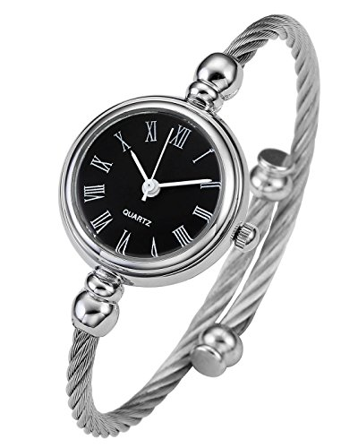 Top Plaza Womens Fashion Silver Tone Analog Quartz Bangle Cuff Bracelet Wrist Watch, Unique Elegant Stainless Steel Wire Band, Roman Numerals - Black (Thin Cuff Watches)