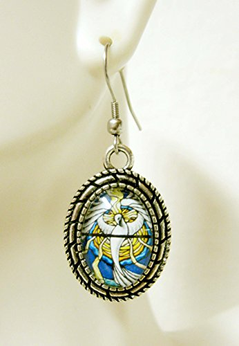 Holy spirit stained glass window earrings - AP07-134