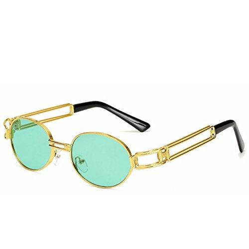 de Grey Mode Lunettes Punk Color Green Classique Gold Nouvelles Lens Retro Soleil Cadre Ronde Frame Frame Lens Lunettes Gold métal Soleil de Sakuldes Steam Punk en ZdwRqZ6