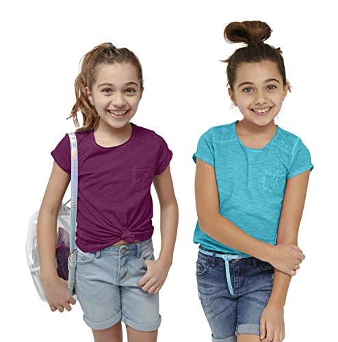 KIDPIK Girls T Shirts 2Pack Lace Pocket Tee (Capri Breeze/Plum Purple)- S