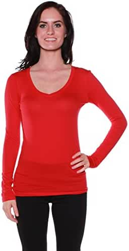 Active Basic Women's Basic Long Sleeve V-Neck Tee